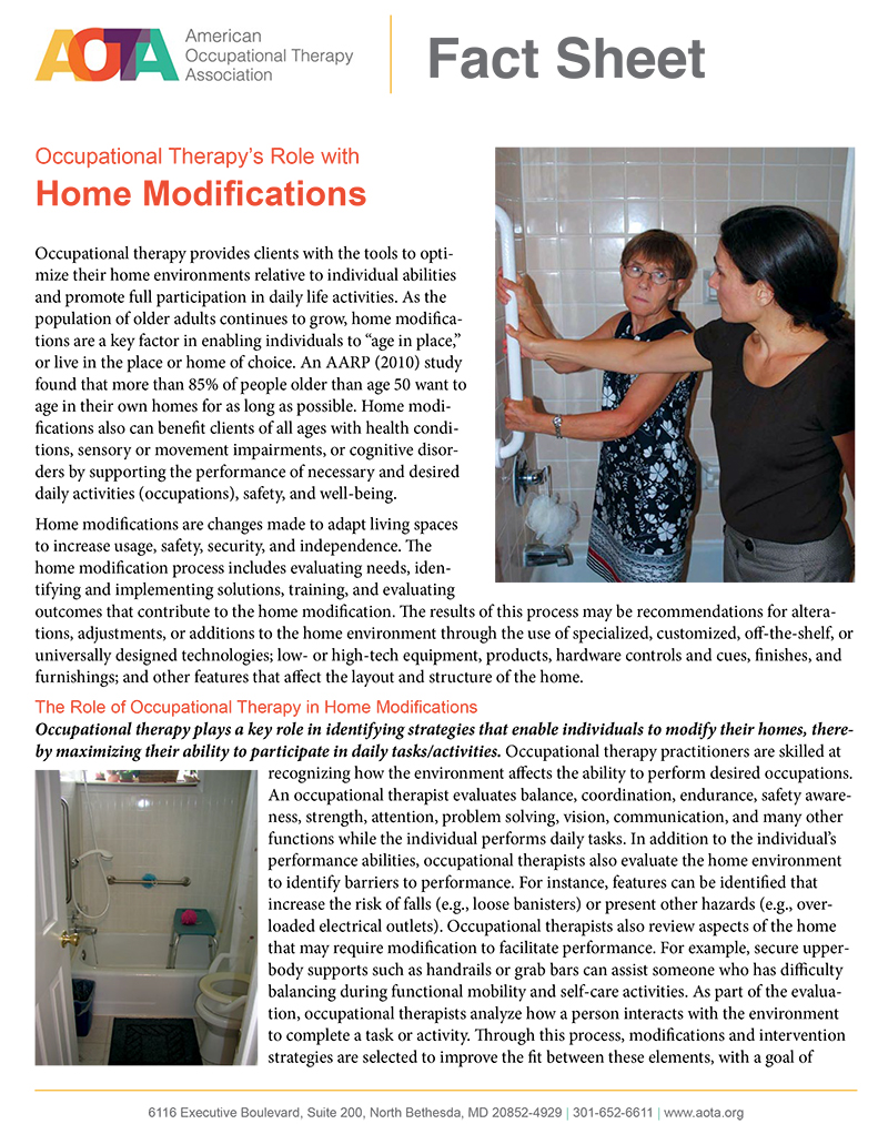 image of occupational therapy with home modifications